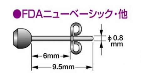 FDAピアス G型フープ/40mmx線形2.0mm FDA-429