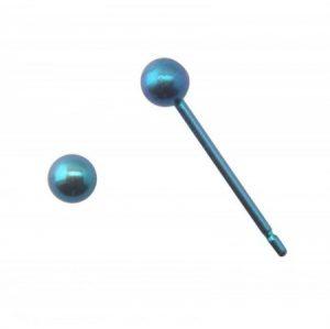 金属アレルギーフリーのFDAピアス ベーシックカテゴリー 3ミリ丸玉/ブルー 《B-3》
